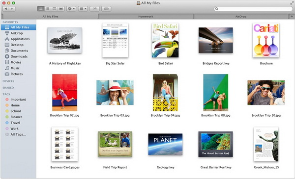 интерфейс Finder. OS X 10.9 Mavericks