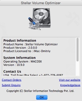 Stellar Volume Optimizer 2.0.0.0 - восстановления каталогов поврежденных томов Mac