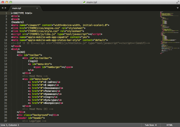 Sublime Text 3 Build 3126 для Mac