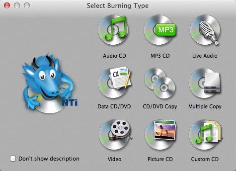NTI Dragon Burn 4.5.0.39 - программа для записи CD/DVD для Mac OS