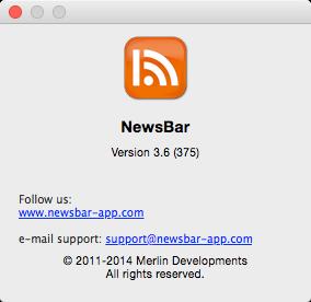 NewsBar RSS reader 3.6