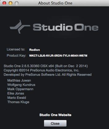 Studio One 2.6.5 for Mac
