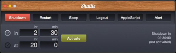 Shuttie 1.3.3 - таймер выключения компьютера Mac