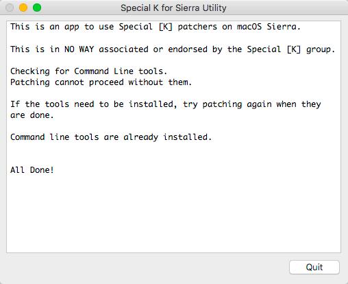 Special K for MacOS Sierra Utility 1.0